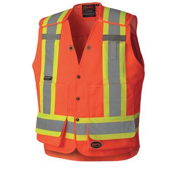 Pioneer 6694 Drop Shoulder Tear-Away Surveyor Safety Vest - Hi-Viz Orange | Safetywear.ca