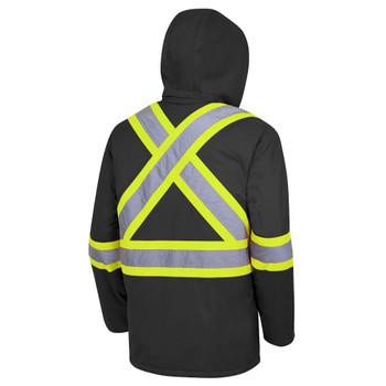 Pioneer 5031BK Hi-Viz 100% Waterproof Quilted Safety Parkas - Black | Safetywear.ca