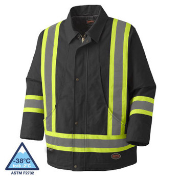 Pioneer 5535BKA Quilted Cotton Duck Safety Parka - Black | Safetywear.ca