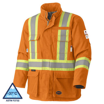 Pioneer 5533 Flame Resistant Quilted Cotton Safety Parka - Orange | Safetywear.ca