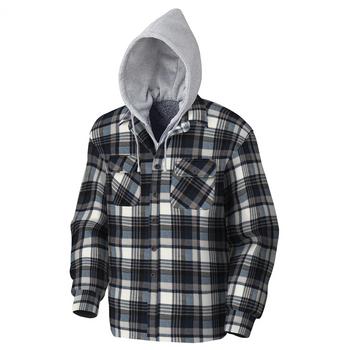 Pioneer 415BG Quilted Hooded Polar Fleece Hooded Shirt - Blue/Grey Plaid | Safetywear.ca