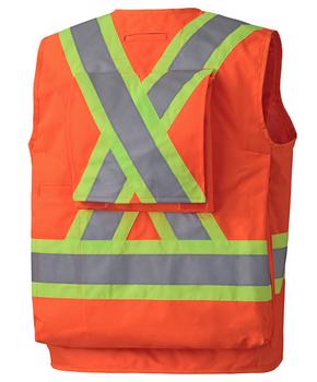 Safety Orange - 6697 Hi-Viz Surveyor's Vest | Safetywear.ca