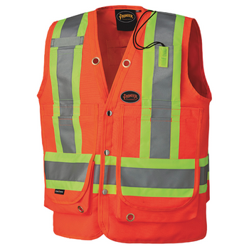 Safety Orange - 6697 Hi-Viz Surveyor's Vest | Safetywear.ca
