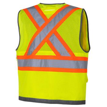 Pioneer 6673 Mesh Back Zip Front Surveyor Safety Vest - Hi-Viz Yellow/Green | Safetywear.ca