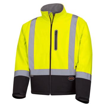 Pioneer 5689 Softshell mechanical Strength Safety Jacket - Hi-Viz Yellow/ Green | Safetywear.ca
