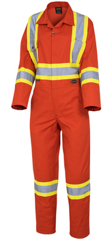 Pioneer 5514W Women's Safety Poly/Cotton Coverall - Orange | Safetwear.ca