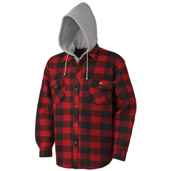 Pioneer 415RB Quilted Hooded Polar Fleece Shirt - Red/Black Plaid | Safetywear.ca