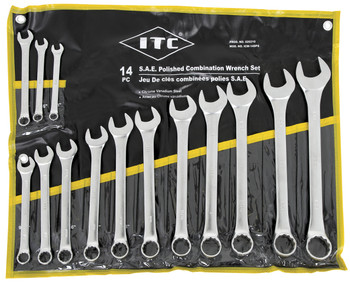 ICW-14PS 14 PC S.A.E. Polished Combination Wrench Set