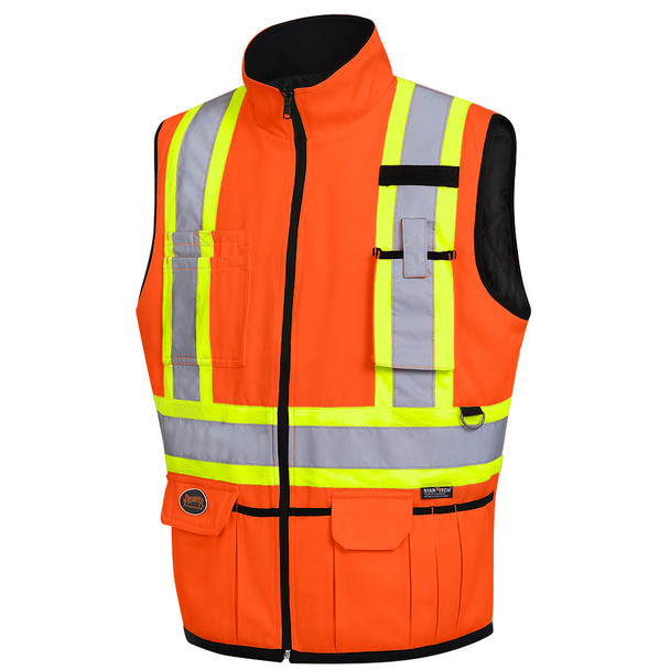 Hi-Viz Orange - 6688 Hi-Viz Reversible Insulated Safety Vest | SafetyWear.ca