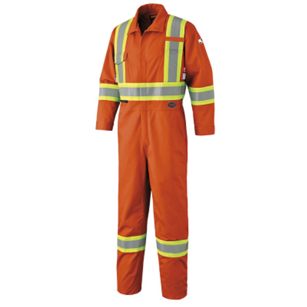 Orange - 7705T Pioneer FR-Tech™ Flame Resistant 7 oz Hi-Viz Safety Coverall with Leg Zippers | SafetyWear.ca