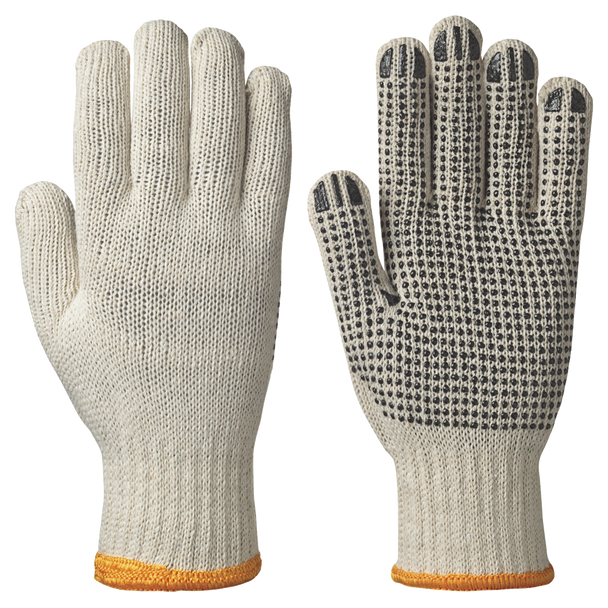 501 Knitted Cotton/Poly Gloves - Dots on Palm - Unbleached | Safetywear.ca