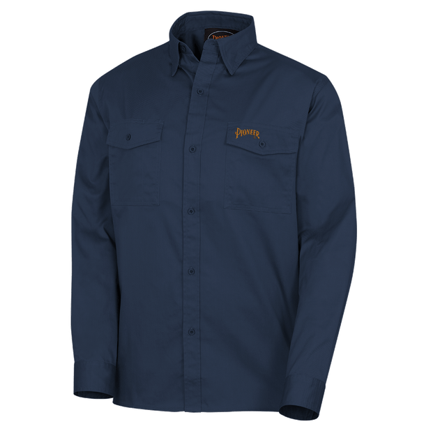 Navy - 4404 Polyester/Cotton Long Sleeved Work Shirt  | Safetywear.ca