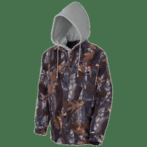 415CM Camo Plaid Quilted Hooded Polar Fleece Shirt | Safetywear.ca