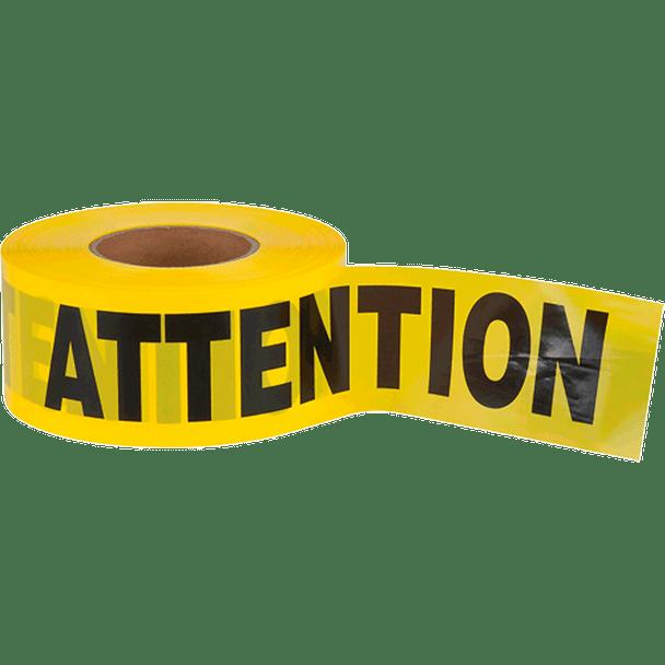"387PQ Yellow Barricade Warning Tape ""Attention"" - 1000' | Safetywear.ca"