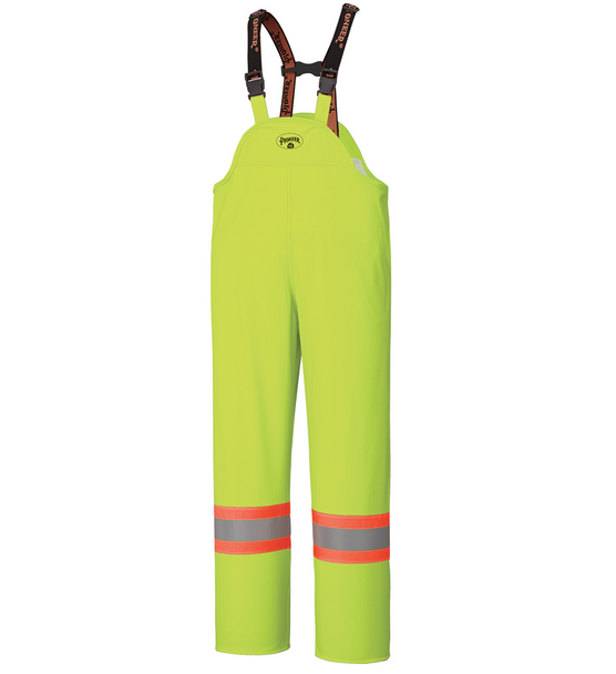 Yellow/Green PU Stretch Hi-Viz Flame Resistant Rain Bib Overall