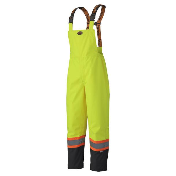 Pioneer 5404 Waterproof Safety Bib Pants - Hi-Viz Yellow/Green   Safetywear.ca
