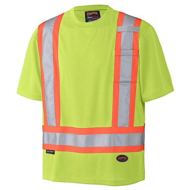 Pioneer 6991 Birdseye Poly Safety T-shirt - Hi-Viz Yellow/Green   Safetywear.ca