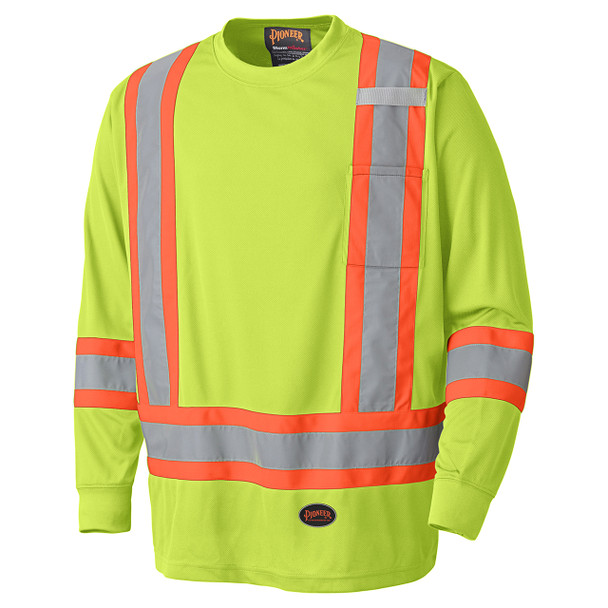 Yellow Green Birdseye Long-Sleeved Safety T-shirt