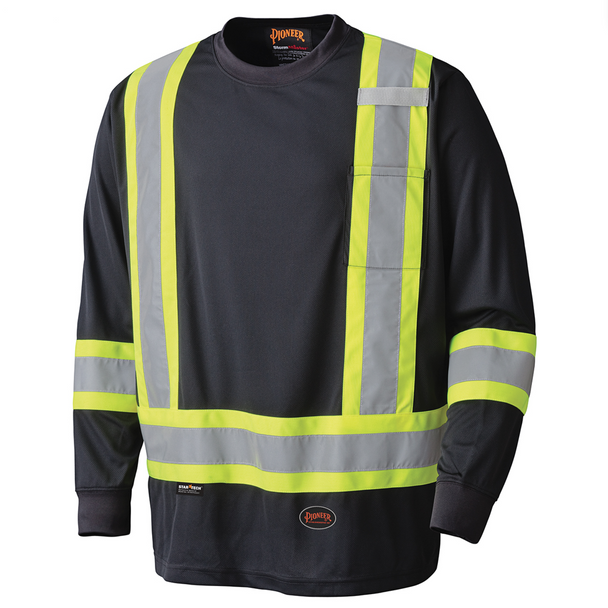 Black - 6997 Birdseye Long-Sleeved Safety T-Shirt