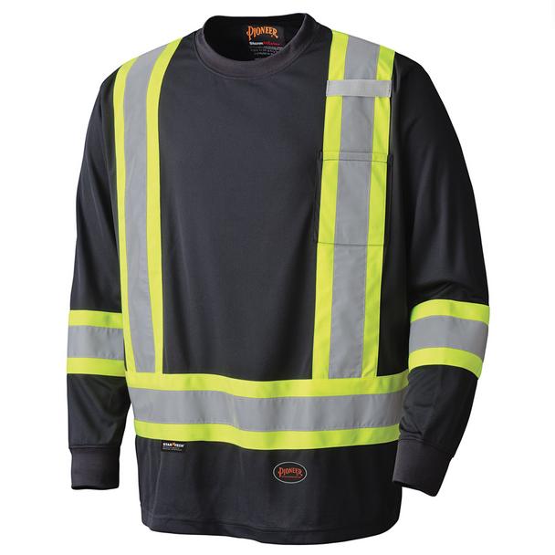 Pioneer 6997 Birdseye Safety Long Sleeve Shirt - Black | Safetywear.ca