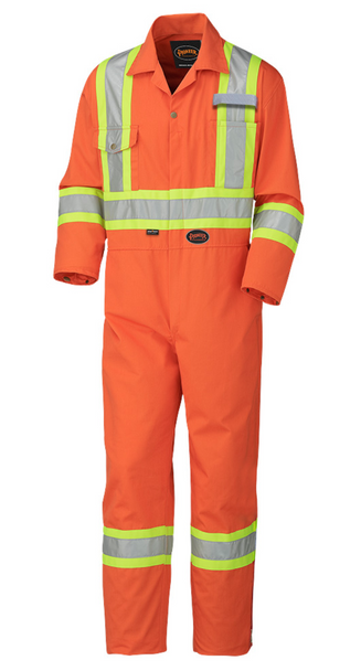Safety Orange - 5513T Hi-Viz Industrial Wash Safety Coverall - Tall - Poly/Cotton