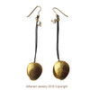 Modern gold vermeil  long earrings with cords and peals|Conemporary earrings