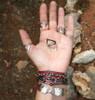Handmade silver bracelet with red and black cords Nugget bracelet Greek Designer
