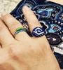 Evil eye rings by Athenart, mati rings, greek evil eye