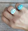 Evil eye jewelry , mati ring, greek kewelry