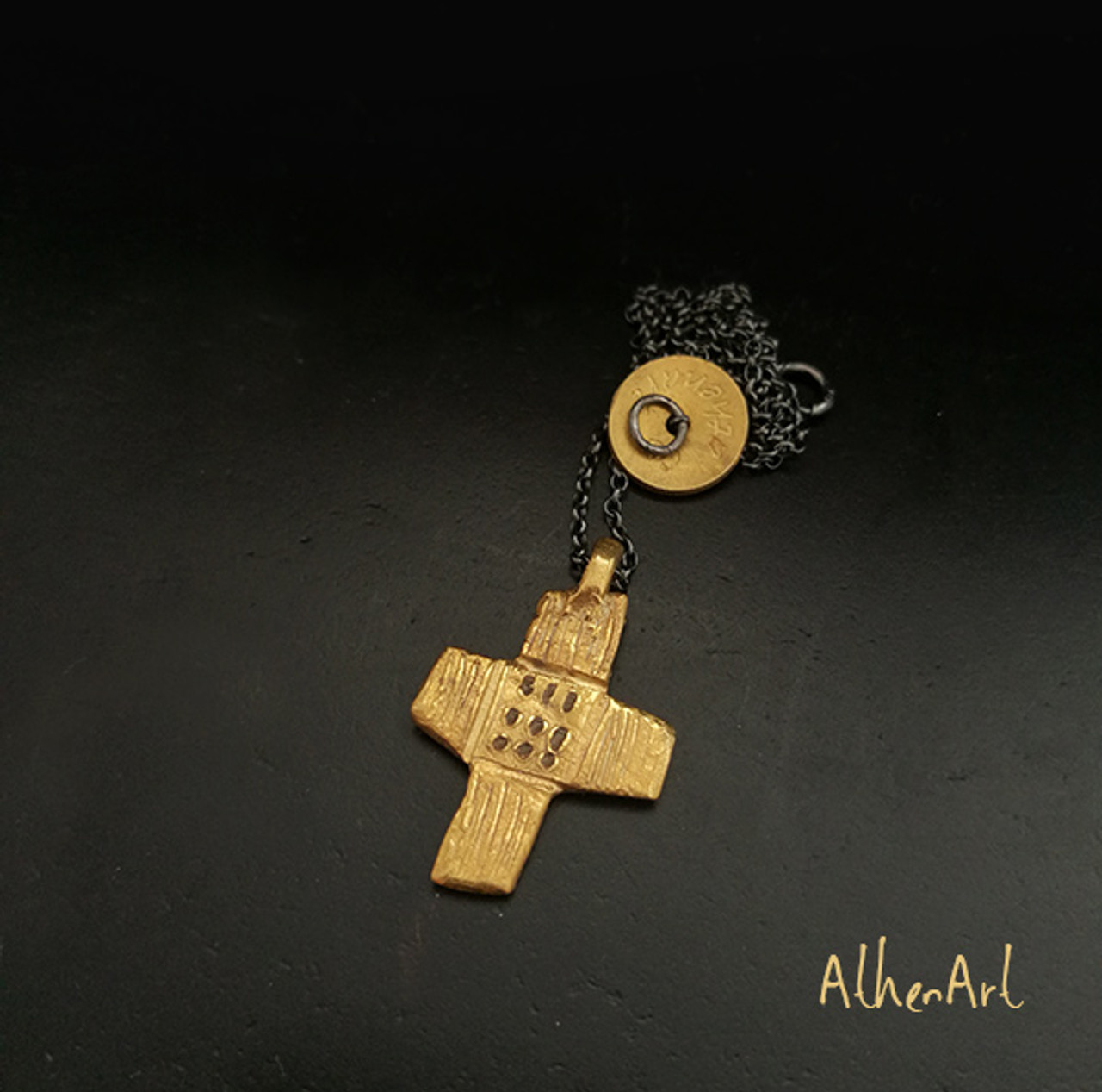 Modern Art Cross with handtextured Details|Contemporary Cross|Greek  Jewellery Designers