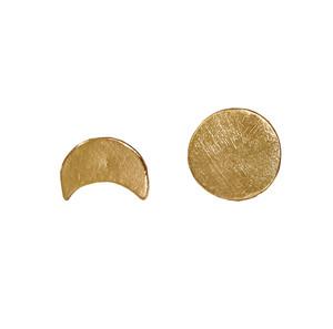 Gold sun and moon stud earrings