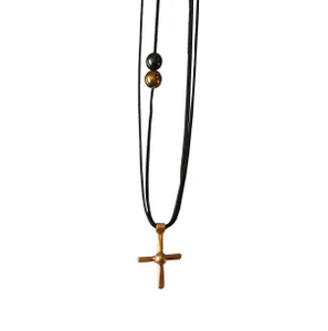 Tiny Silver Cross Necklace |Contemporary cross necklace