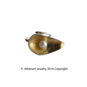 Modern Pearl Ring | Contemporary Silver Ring with Pearl