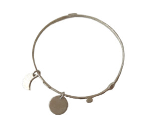 silver bangle bracelet with charms