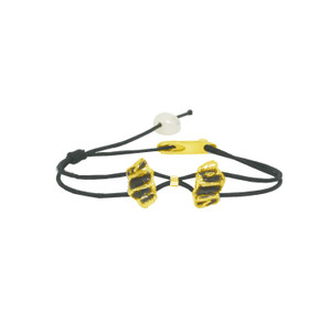 Oxidized unusual bracelet in silver with black details or Gold with black details with pearls