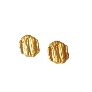 Raw Silver Stud Earrings | Oxidized - Gold Plated | Contemporary Earrings