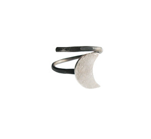 Crescent Moon Ring | Half Moon Silver Ring | Modern Ring