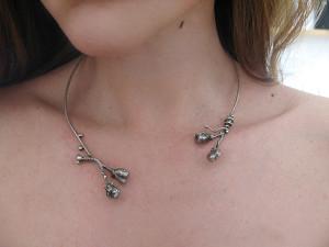Botanical silver necklace Unique necklace Organic silver necklace