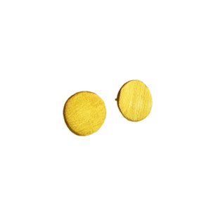 Big, minimal Circle sun stud earrings in silver, gold, and black finishes