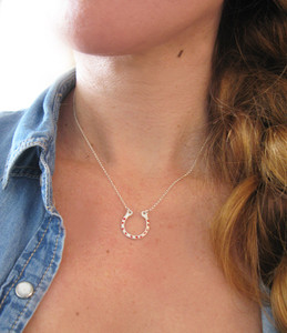 Silver Horseshoe Necklace | Lucky Charm Horseshoe Necklace with Chain | Unisex