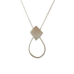 Geometric Rhombus Necklace | Minimal Drop Necklace