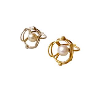 Lace silver or gold vermeil ring with pearl|Contemporary ring|Greek designer ring