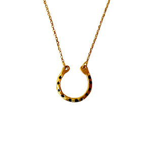 Gold plated horseshoe necklace|Modern horseshoe lucky charm