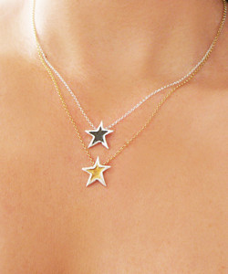Silver star charm necklaces