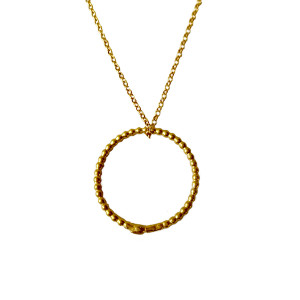 Circle gold plated necklace|Minimal circle necklace|