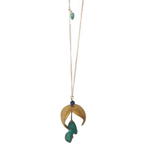 Contemporary pendant with gemstones