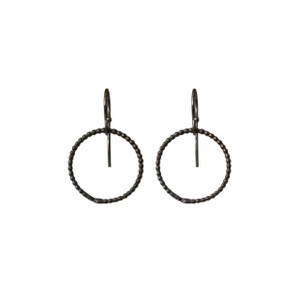 Silver black-Oxidised hoop earrings|Modern hoop earrings|Elegant earrings