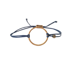 Minimal silver Circle bracelet with cord, everyday jewelry