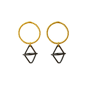Minimal geometric Hoop earrings with rhombus charm available in many combinations