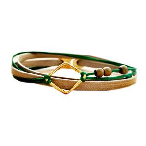 Bohemian style bracelet|Beige -Forest Green|Designer wrap bracelet